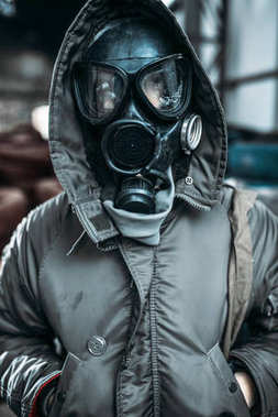 stalker concept, male person in gas mask, radiation danger. Post apocalyptic lifestyle, doomsday concept
