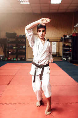 young fighter in white kimono with black belt, karate training in gym