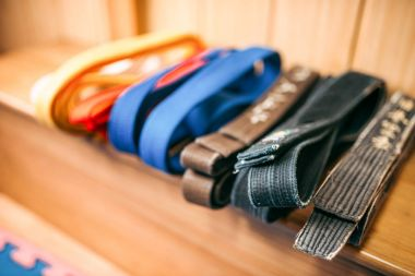 martial arts, brown, orange, blue and black belts closeup