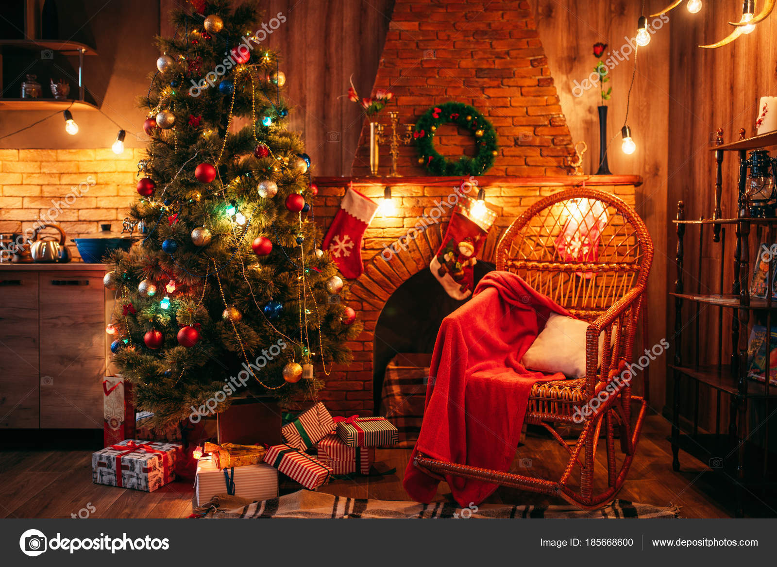 Christmas Tree Room Holiday Decorations Xmas Celebration