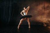 Fotografie elegantní a krásné tanečnice tančí v baletu