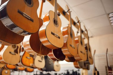 Rows of acoustic guitars on showcase in music store, nobody. Assortment in musical instrument shop, professional equipment for musicians and performers