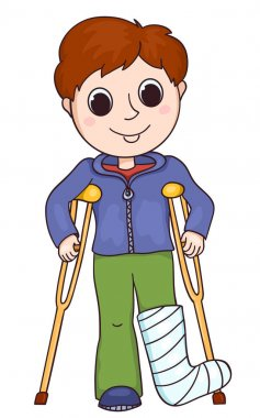 Cute boy with the broken leg