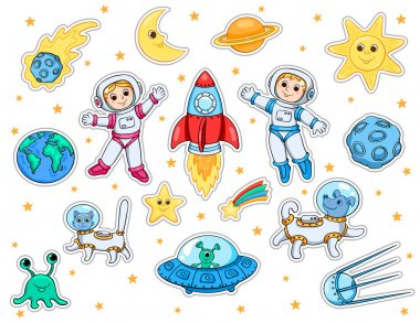 Set of stickers with space objects isolated on white