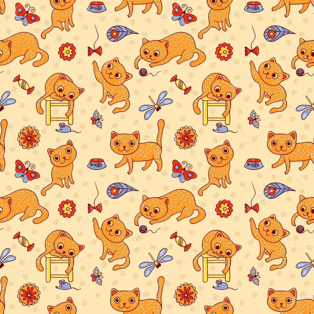 Seamless pattern with the happy playing red cats