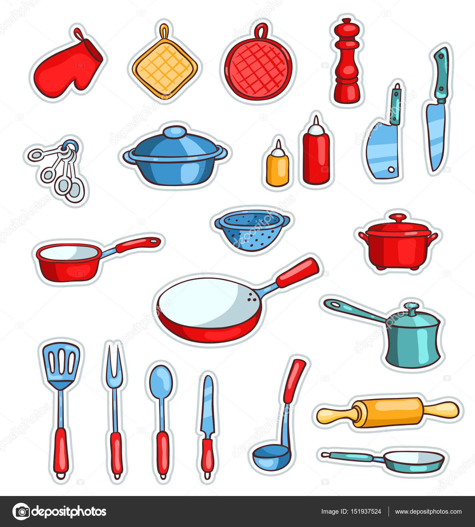 ensemble d ustensiles de cuisine de dessin anim image vectorielle amalga 151937524. Black Bedroom Furniture Sets. Home Design Ideas
