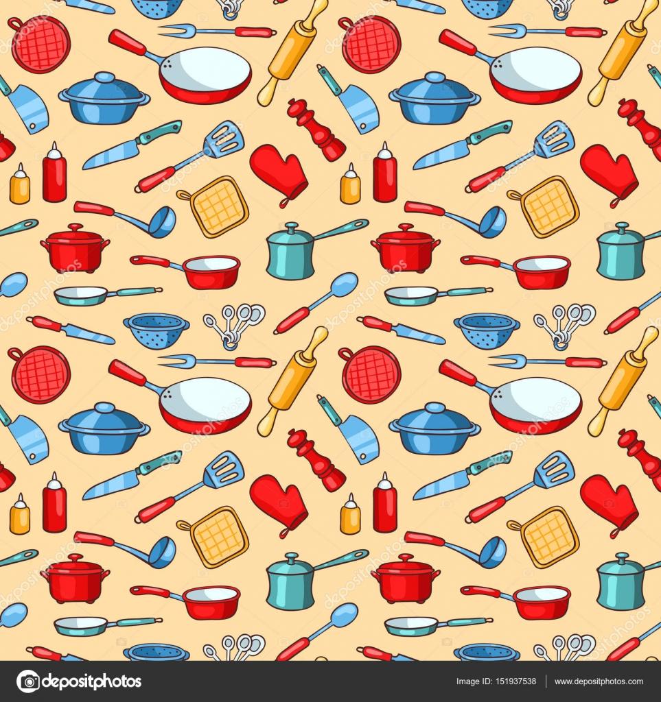 Utensilios de cocina dibujos animados patr n transparente for Utensilios de cocina fondo
