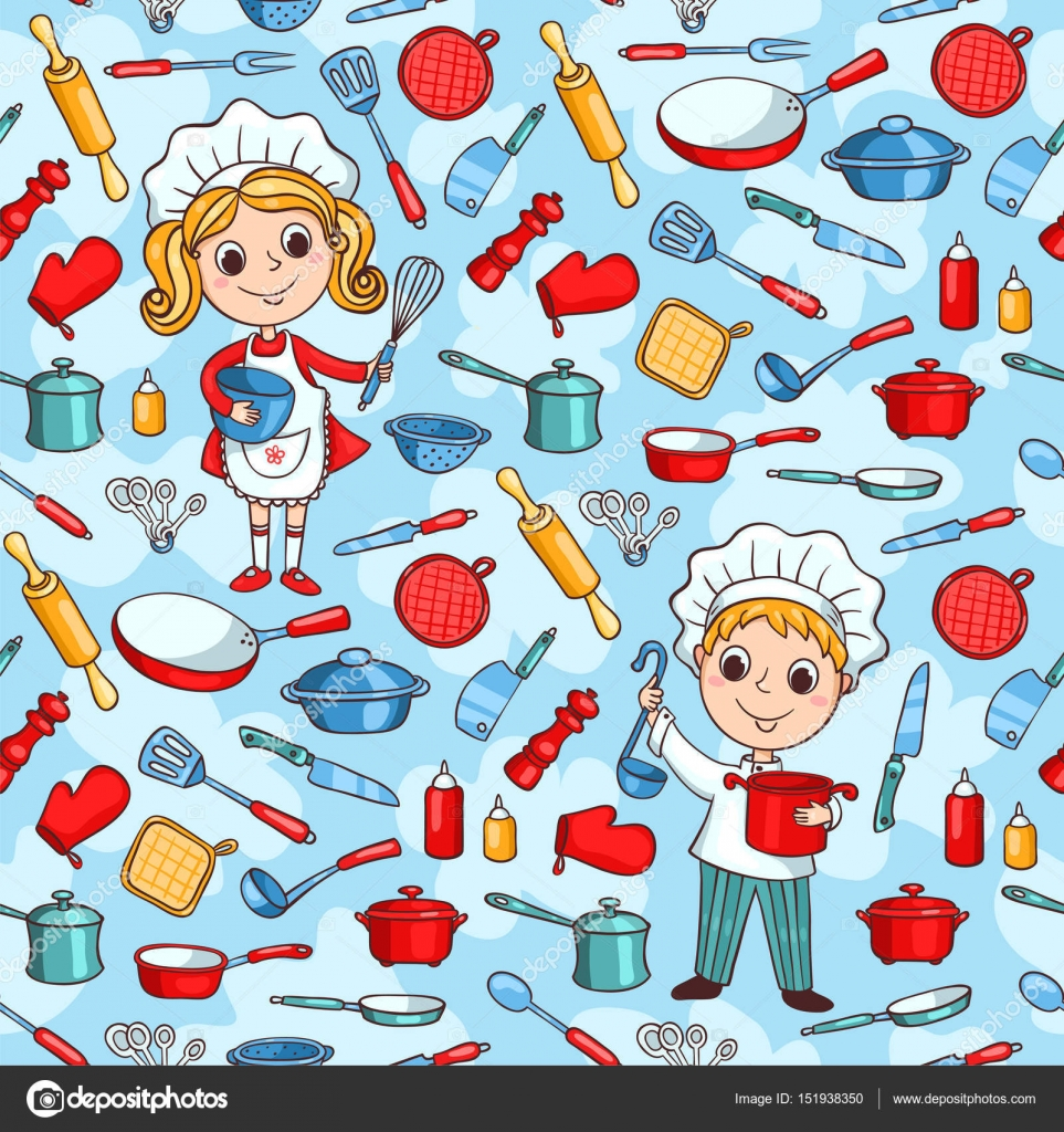 Seamless pattern of cartoon kitchen ware and two cute cook — Stock ...