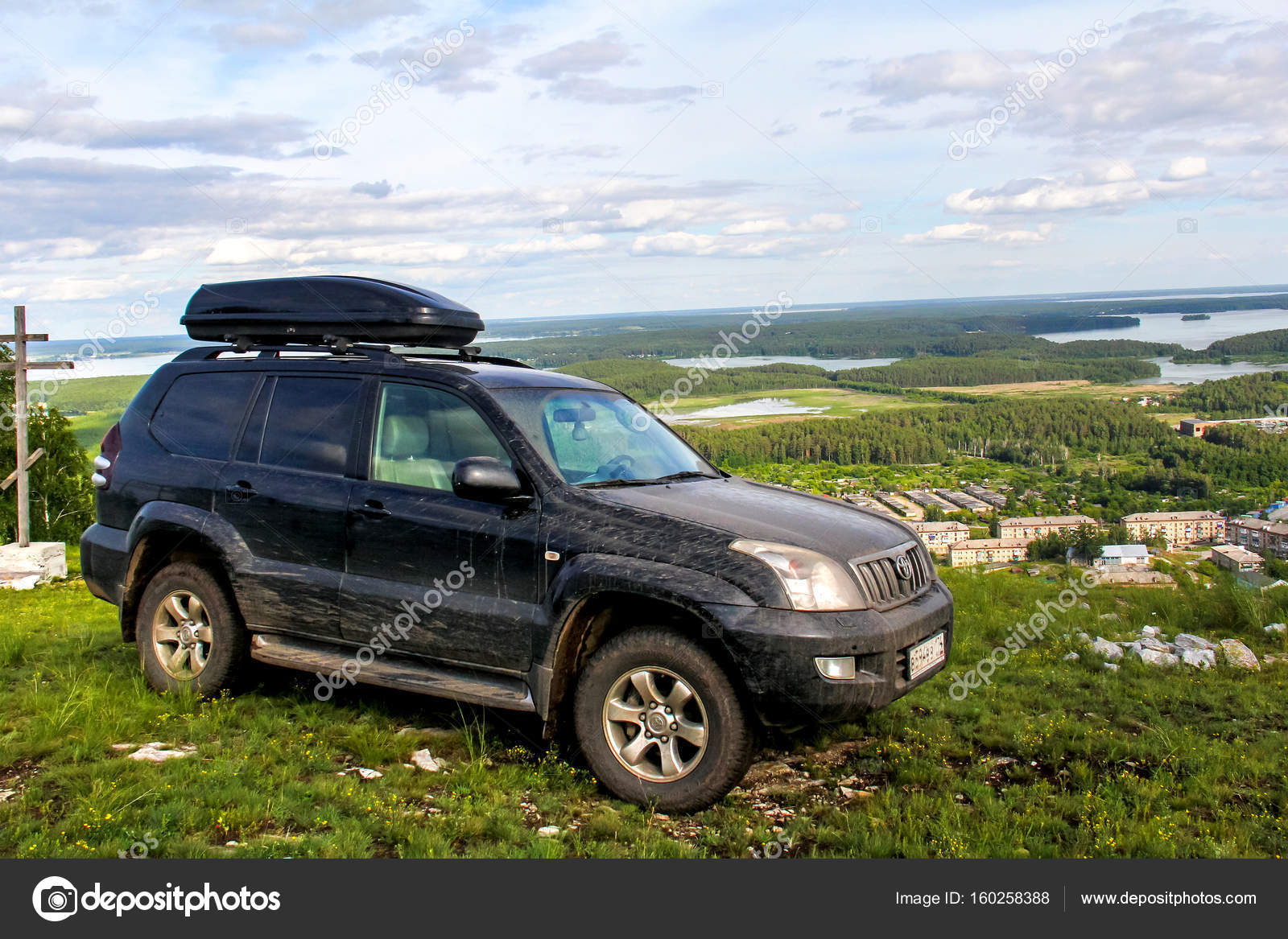 Toyota Land Cruiser Prado 120 Stock Editorial Photo Artzzz Chelyabinsk Region Russia July 8 2017 Black Off Road Car At The Countryside By