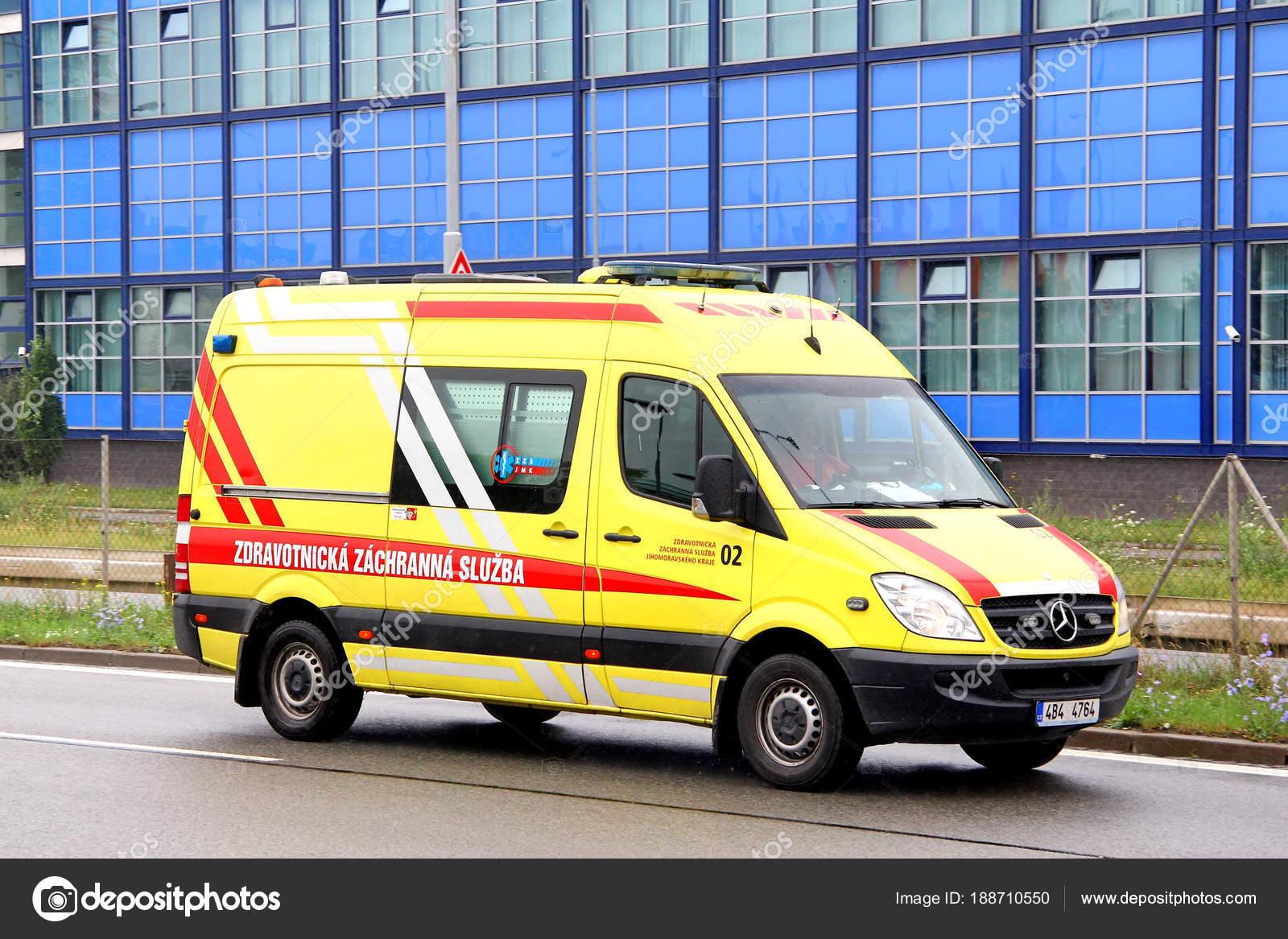 Brno Czech Republic July 2014 Yellow Ambulance Car Mercedes