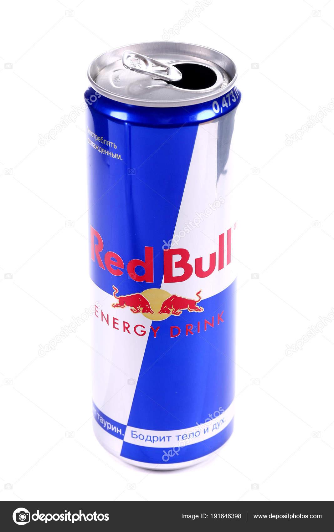 ec0202668ad21 Lata Alumínio Abriu Bebida Energética Red Bull Isolada Sobre Fundo —  Fotografia de Stock