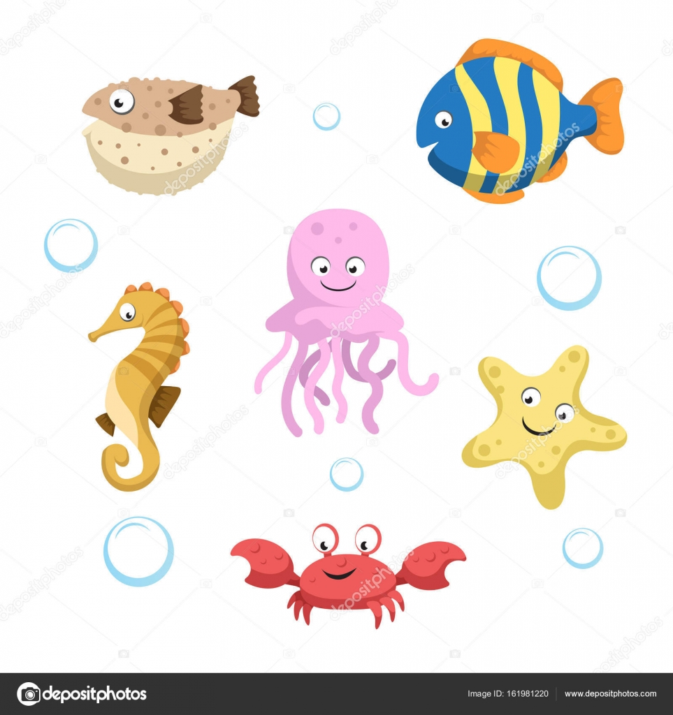 vector cute different sea and ocean animals set isolated vector