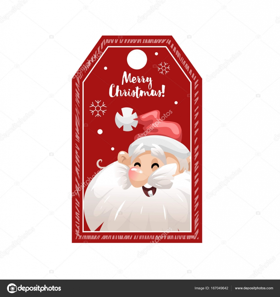 Cartoon looking red Christmas tag or label with laughing ...