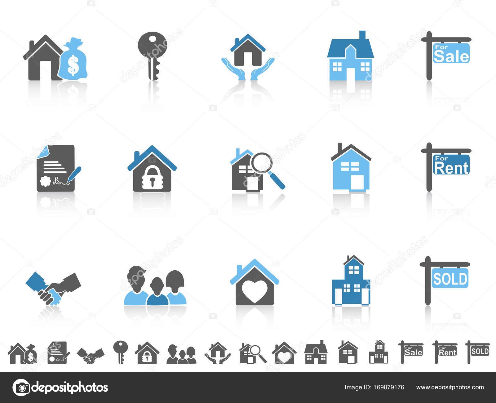 einfache blaue Farbe Immobilien Symbole eingestellt — Stockvektor ...
