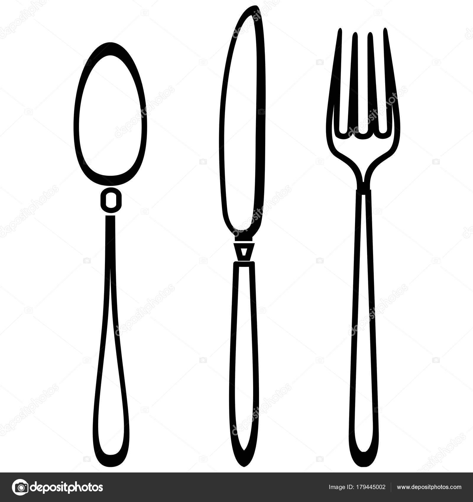 cuchara tenedor y cuchillo esquema conjunto vector de knife and fork clipart image knife and fork images clip art