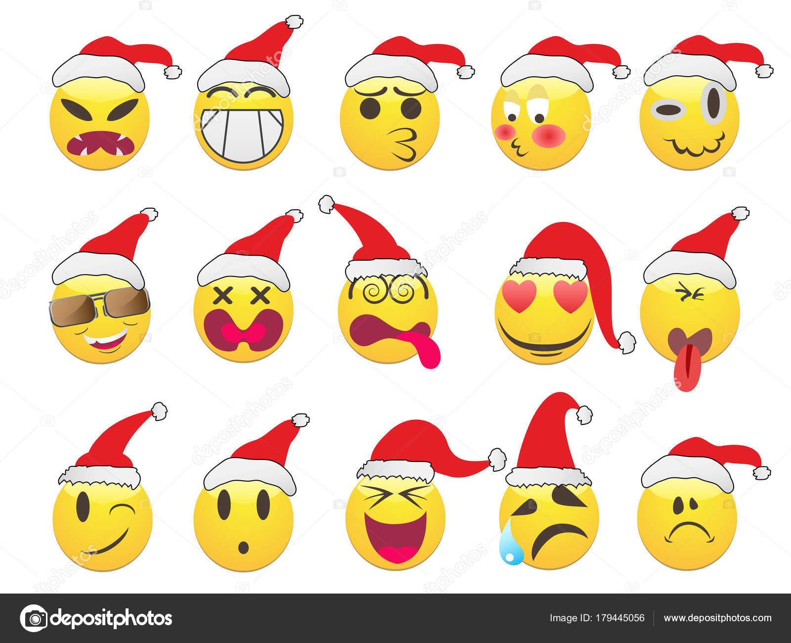 Weihnachts-Smiley-Gesicht-Icons set — Stockvektor © huhulin #179445056