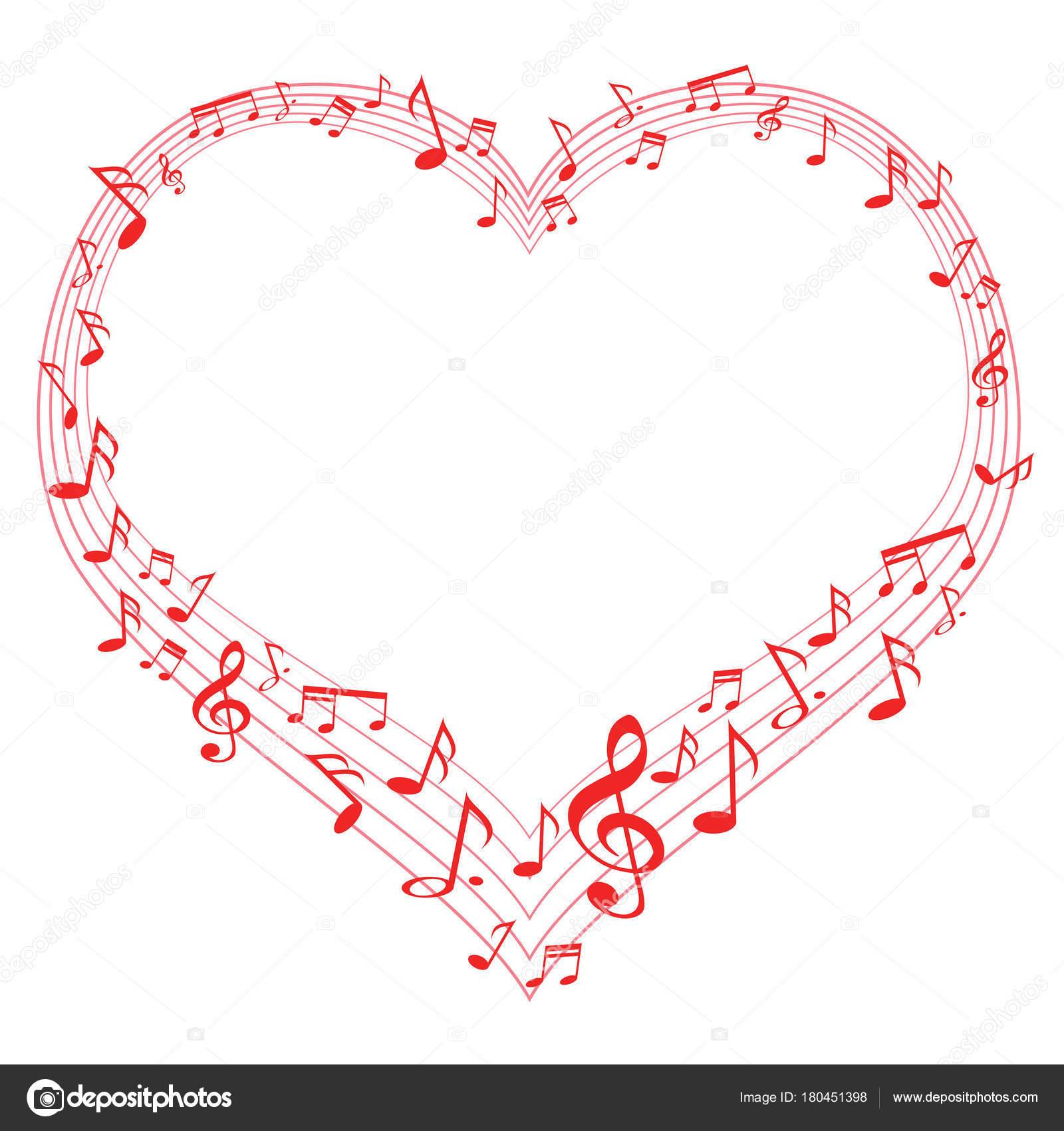 Música De Amor Notas Musicales En Forma De Corazón Archivo