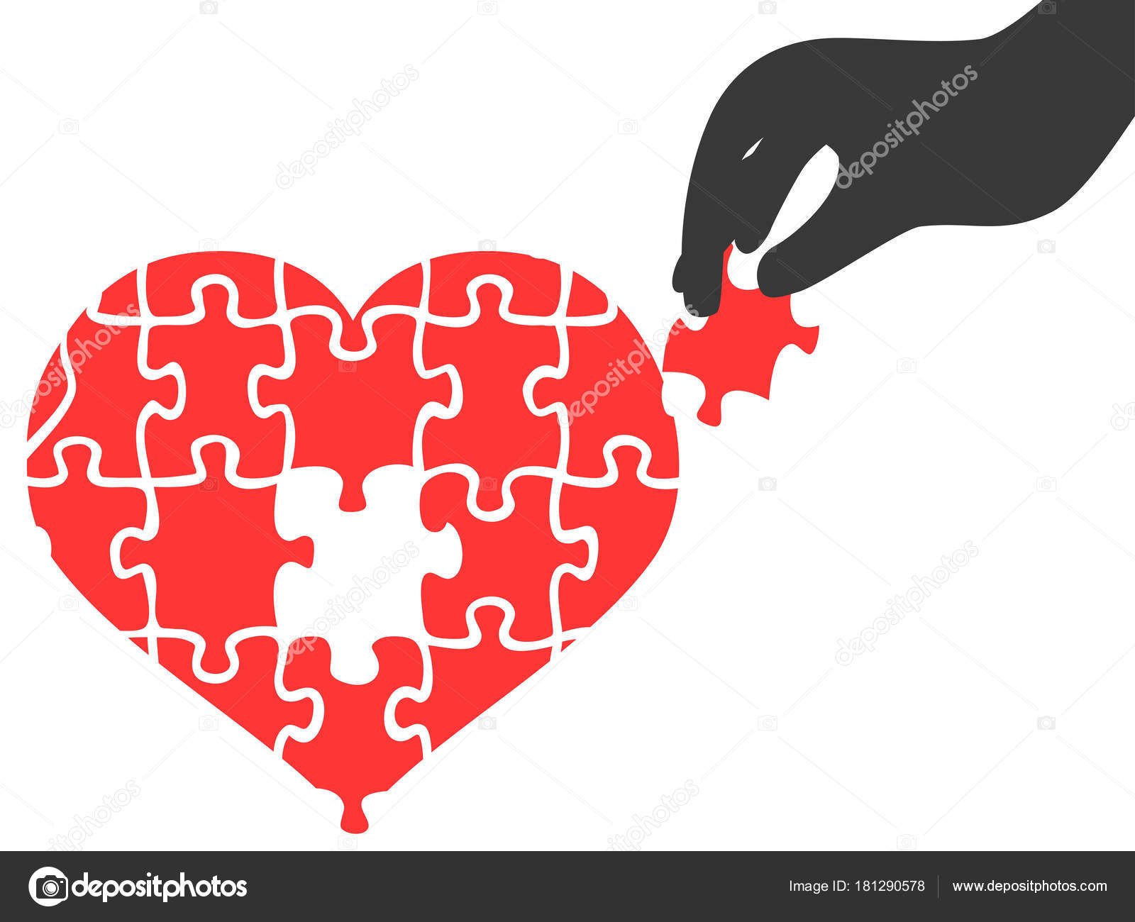 Hand Took Heart Jigsaw Puzzle Piece Stock Vector