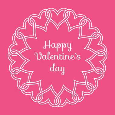 ircular frame of intertwined hearts and congratulation Happy Valentine's Day. Vector illustration for romantic design.