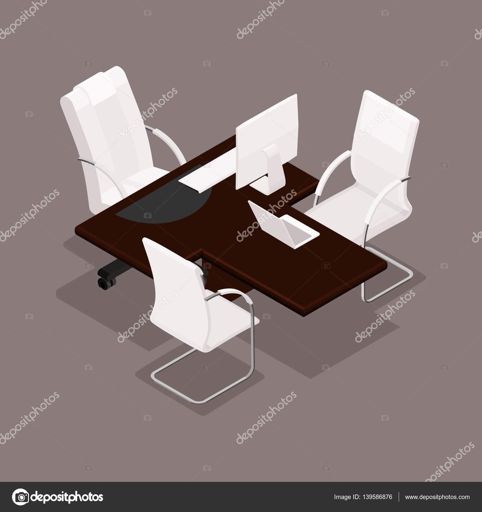 d isomtrico decoradas en un estilo moderno mobiliario de oficina equipo de cmputo