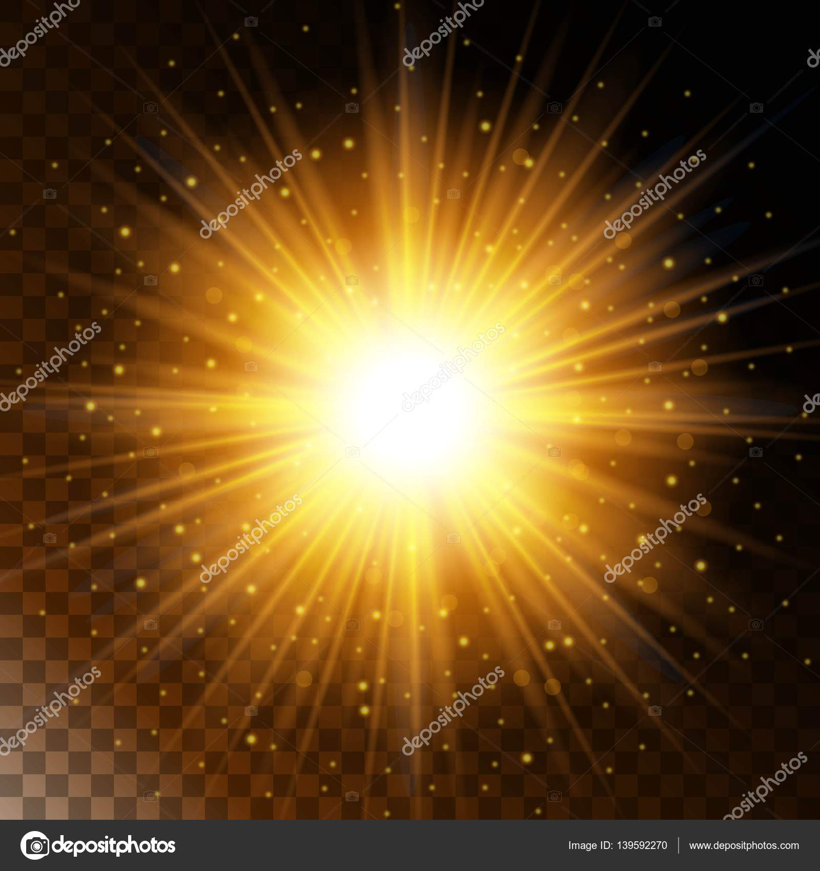 Set of glowing light effect star, the sunlight warm yellow glow ... for Sun Light Effect Background  66plt