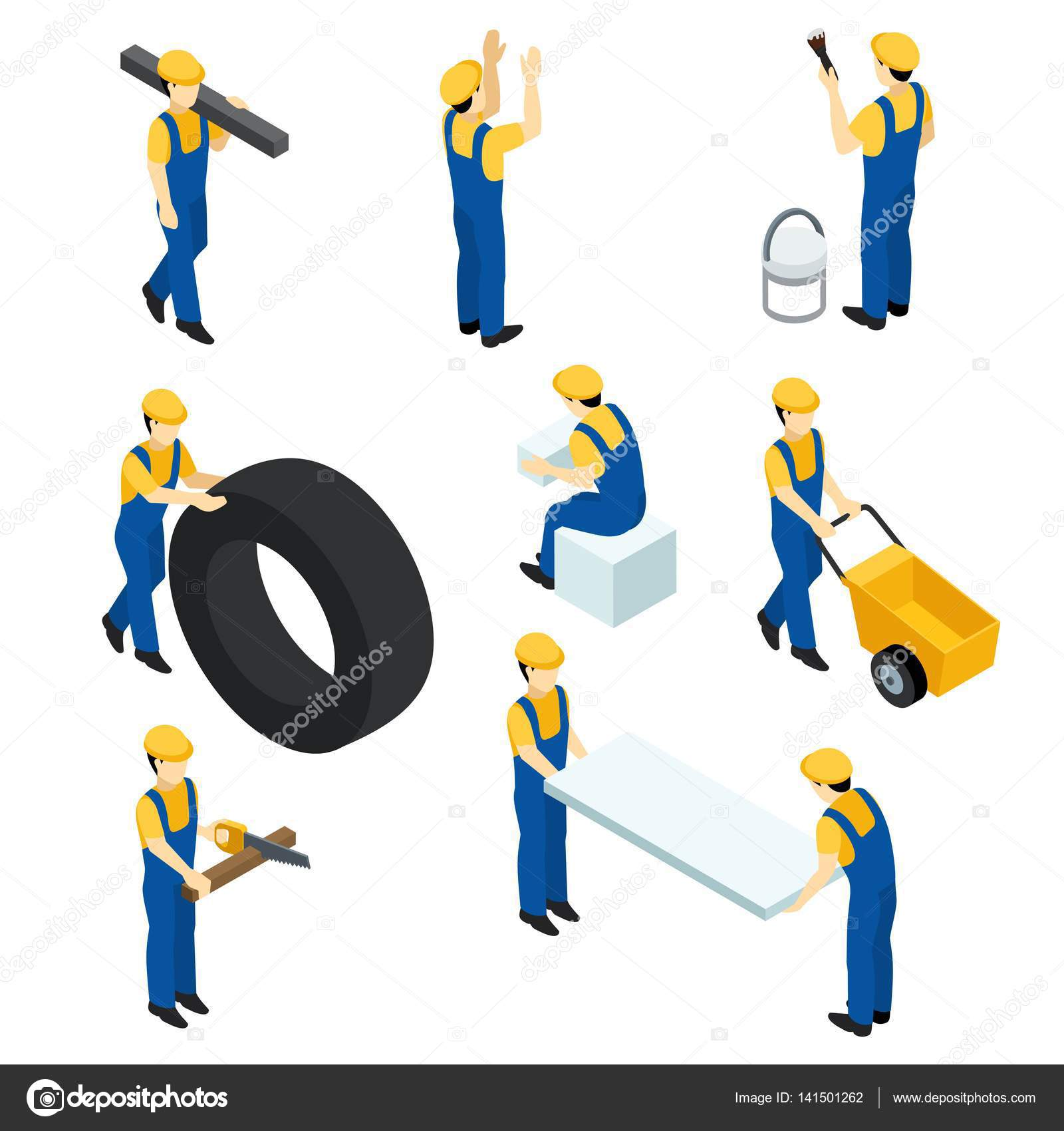set of vector isometric workers construction workers builders in