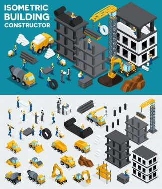 Design building isometric view, create your own design, building construction, excavation, heavy equipment, trucks, construction workers, people, uniform blocks, piles. Vector illustration