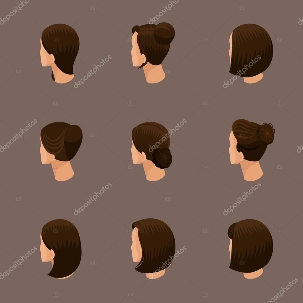 Isometric set of 3D avatars, women's hairstyles, trendy hairstyles, trendy haircut styling, rear view on a beige background. Vector illustration