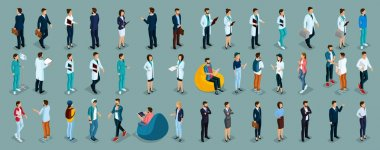 Trend Isometric people of different professions, hospital staff, surgeon, doctor, nurse, freelancers, business woman and businessman in suits insulated. Vector illustration