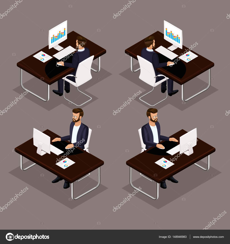 Trend Isometrische Menschen Set 3 3d Geschaftsmann Arbeitet An