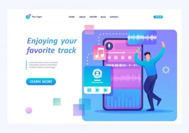 Young teen guy enjoys his favorite music track. Flat 2D character. Landing page concepts and web design