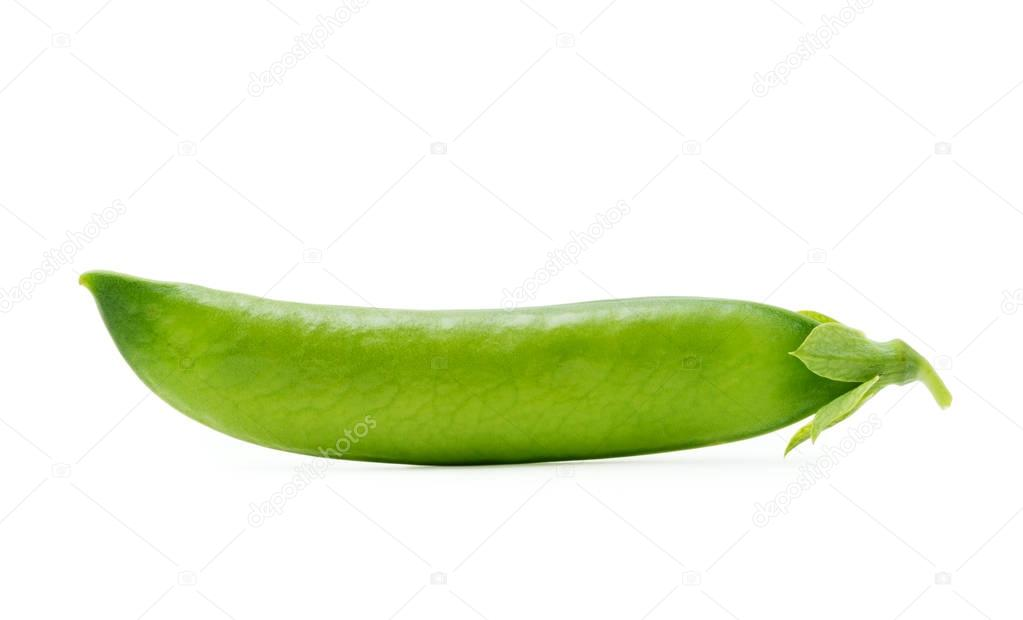 Pod of green peas isolated on the white background