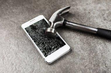 Smartphone with broken screen