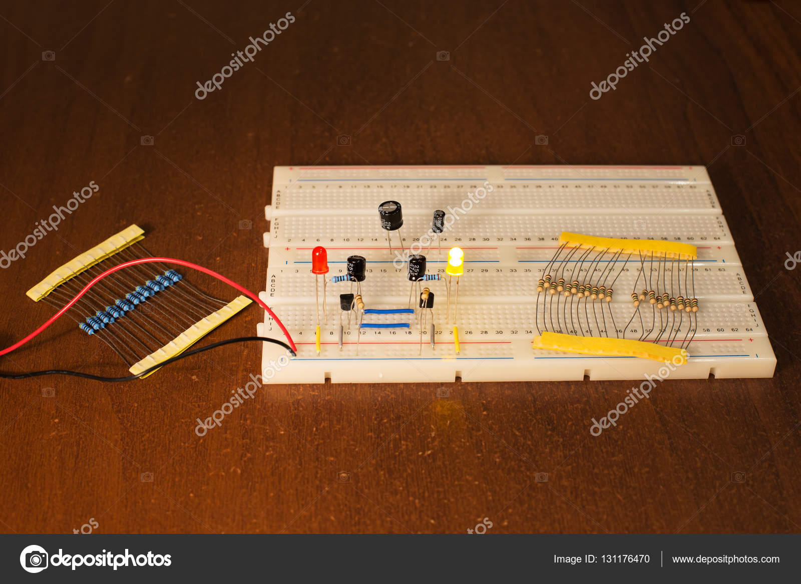 Oscillator Circuit On Prototyping Board Breadboard Stock Photo Basic Oscillatory Circuits Electronic And Diagram