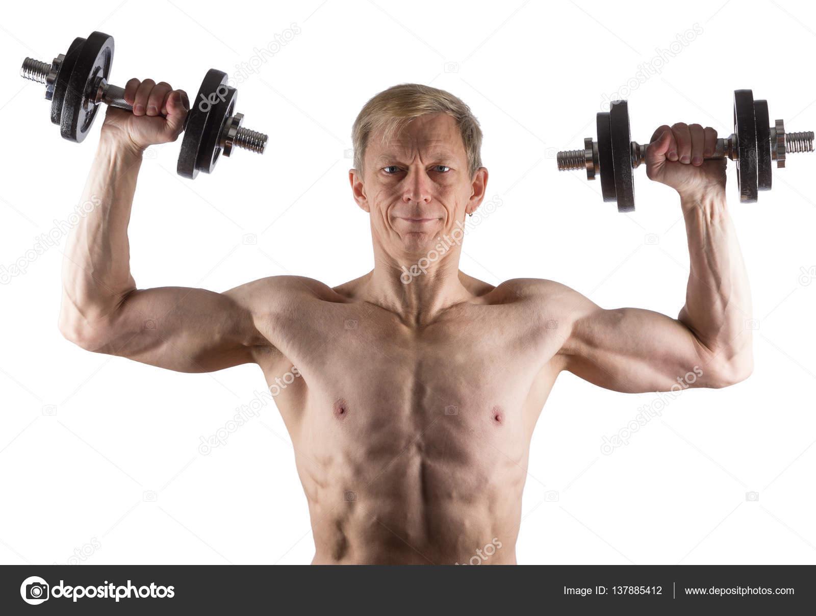 Hombre del ejercicio con pesas para el músculo deltoides — Foto de ...