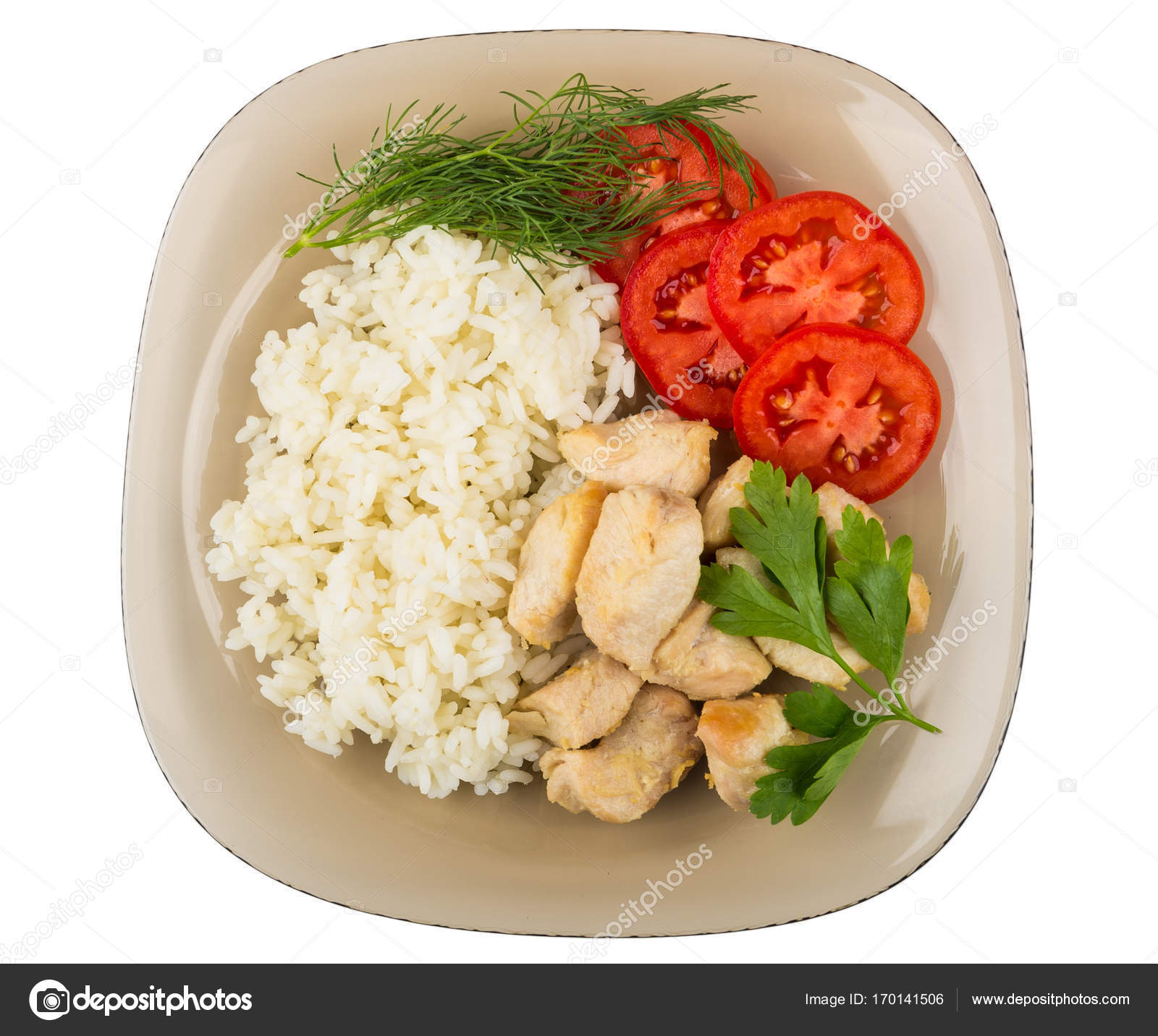 Fried Chicken Meat With Rice And Tomatoes In Brown Plate