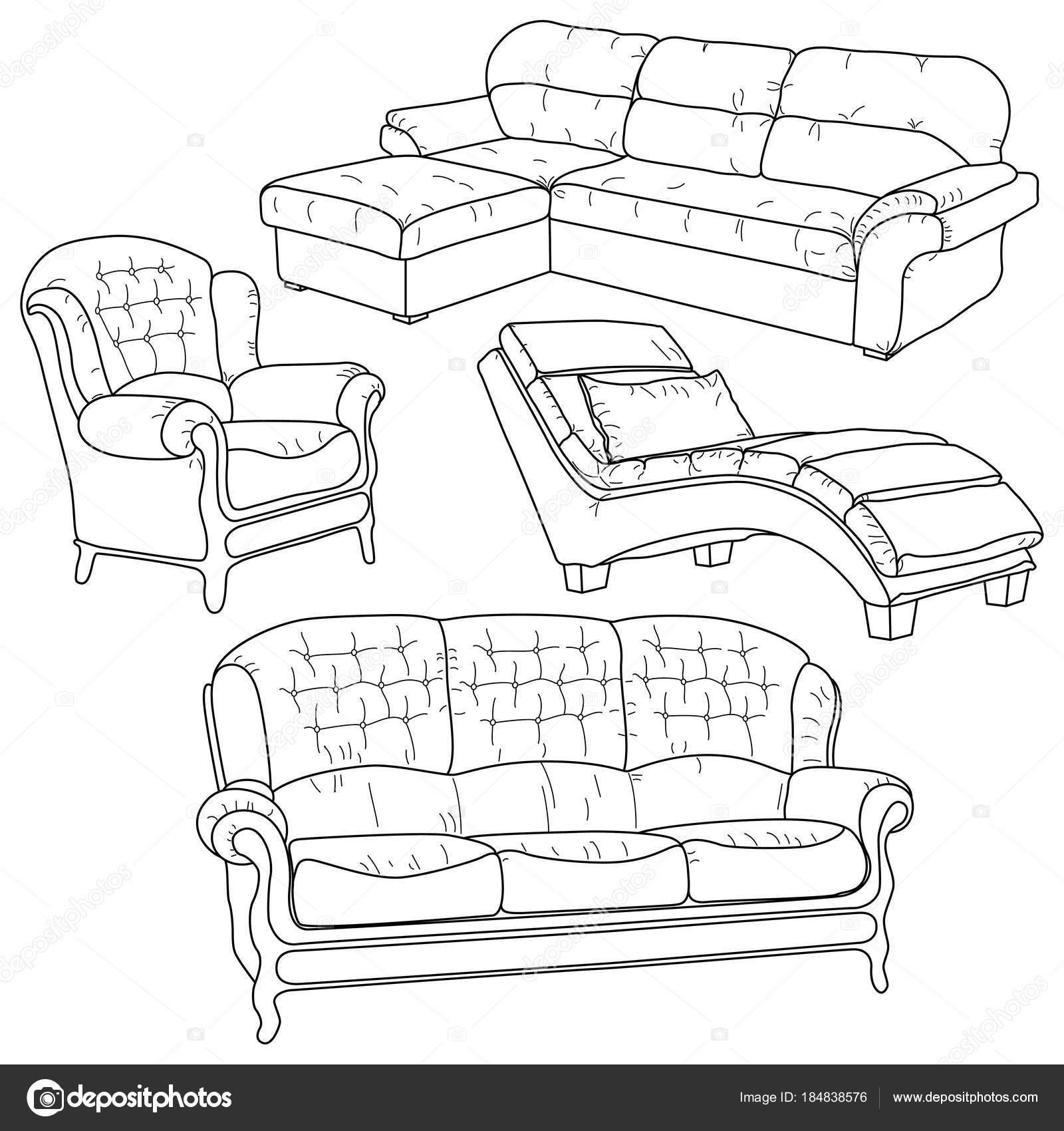 Векторный набор с рисованной рисунков — Векторное изображение