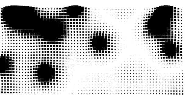 Abstrakte schwarze Kleckse bewegen sich über ein flexibles organisches Gitter