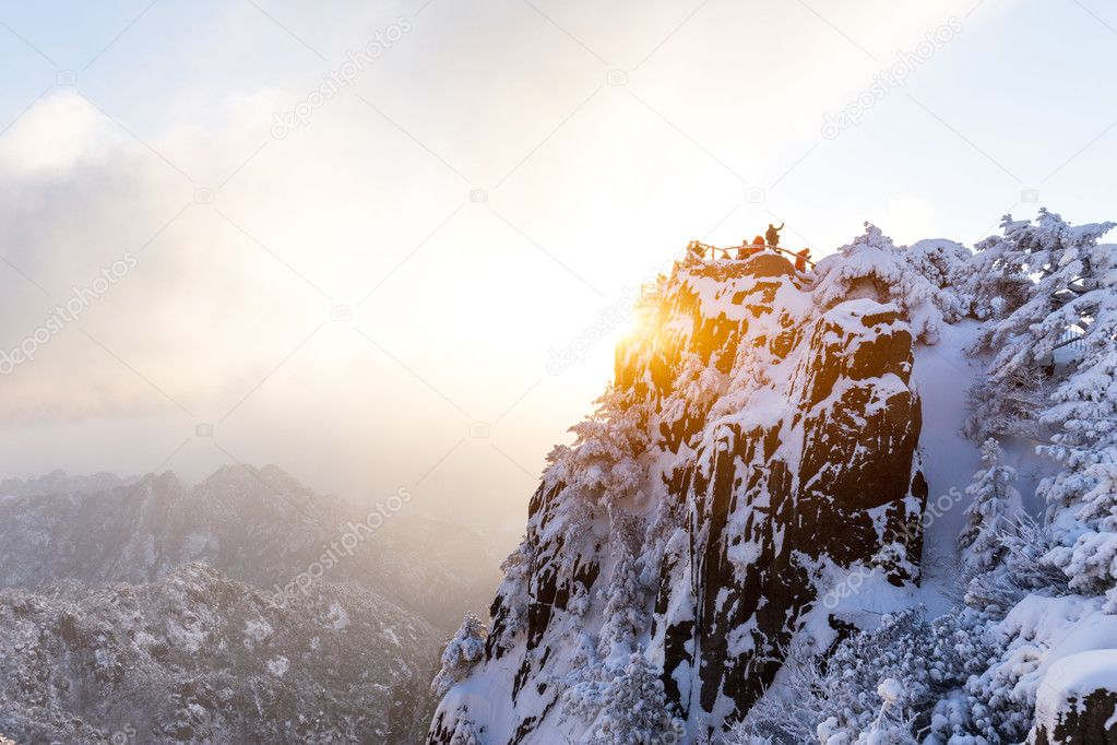 snow scene on Huangshan mountain