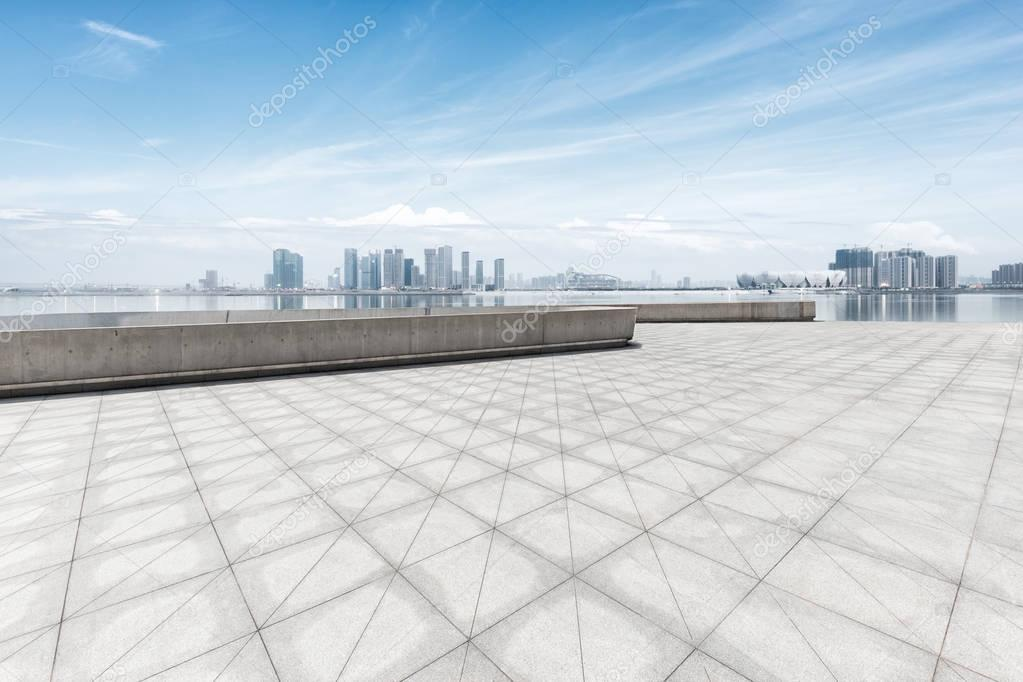 cityscape and skyline of Hangzhou from empty floor
