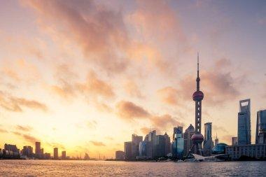 modern office buildings in Shanghai at sunrise