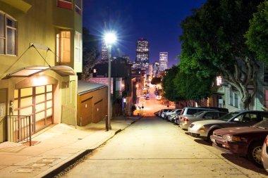 modern buildings in midtown of San Francisco at night