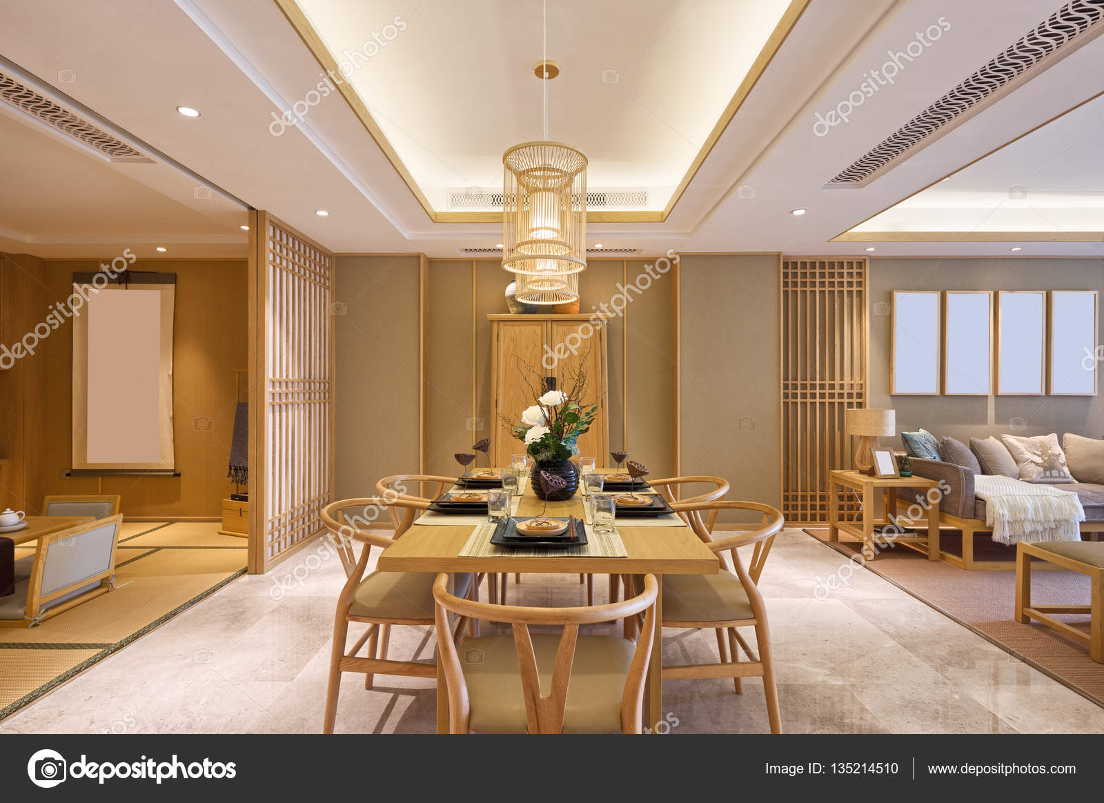 Interno della sala da pranzo moderna foto stock for Sala pranzo moderna