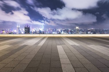 cityscape and skyline of Shanghaii from empty floor