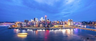 cityscape and skyline of Chongqing at night