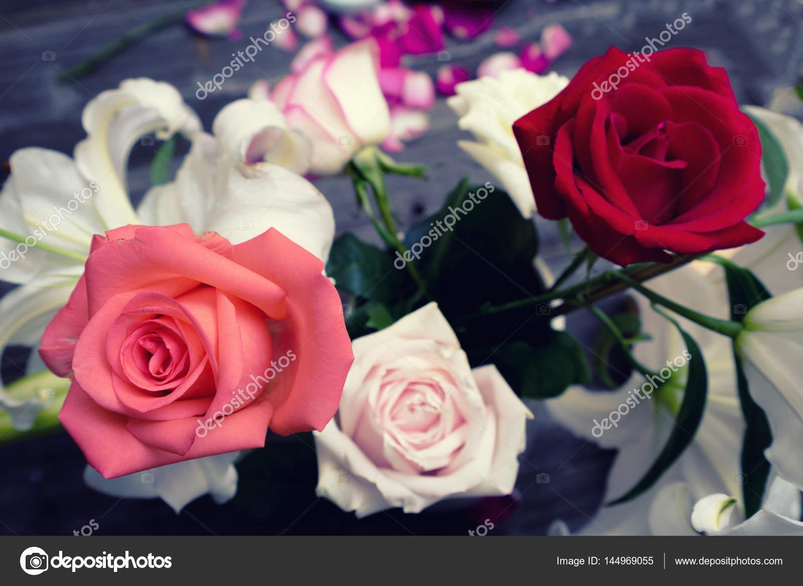 beautiful colorful flowers on table — Stock Photo © zhudifeng #144969055