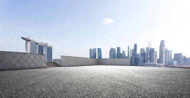 cityscape of Singapore from empty road