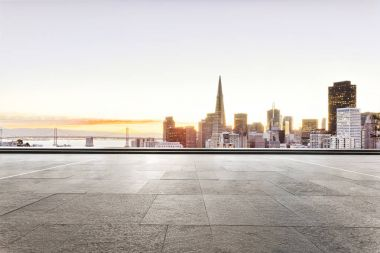 empty floor with cityscape of san francisco