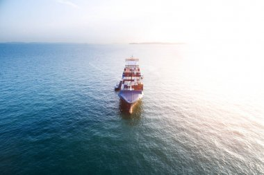 cargo container ship on tranquil sea