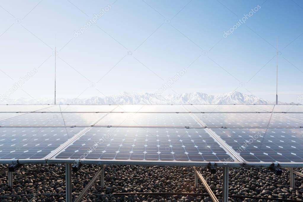 solar panels with mountains